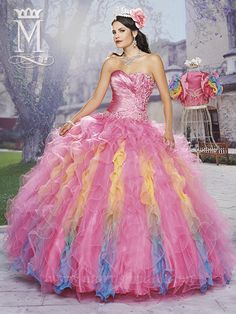 P.C. Mary's 4412 (Exclusive Colorful Rainbow Quinceañera Sweet Sixteen Dress)