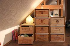 Scheerereien - Basteln, nähen, werkeln und mehr: Schubladenschrank aus alten Weinkisten