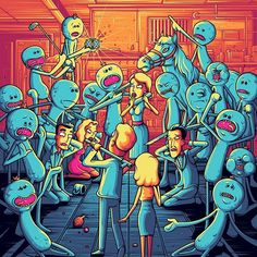 'I'm Mr Meeseeks!' Official @rickandmorty print available in store now in three different colour ways! Http://danmumford.bigcartel.com #rickandmorty #danmumford #mrmeeseeks