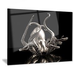 Designart 'Silver Octopus' Abstract Digital Art