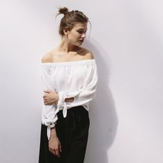 OFF SHOULDERS KNIT with ties white summer sweater by flavourknit on Etsy