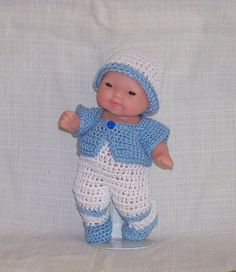 Hand Crocheted BOY Doll Outfit 5 Berenguer Itty by morninglarks ~ not a pattern - item is to purchase