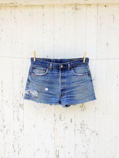 High Waist Levi cut off jean shorts 33 waist Denim Shorts Style, Jean Shorts, Denim Jeans, Vintage Shorts, Vintage Denim, Denim Trends, Cut Off Jeans, Bermuda, E Design