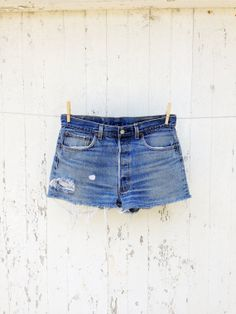 80s High Waist Levi cut off jean shorts 33 waist  by HuntedFinds, $34.00