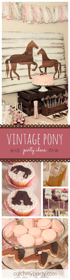 You'll love this adorable Pink Vintage Pony Party. The rustic backdrop is so beautiful and the cupcakes are gorgeous! See more party ideas at CatchMyParty.com