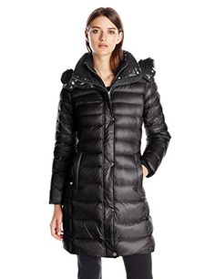 Andrew Marc Womens Down Coat with Inner Bib and Fur Trim Hood Black Large ** You can get more details by clicking on the image. (Note:Amazon affiliate link)