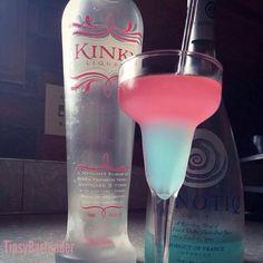 Sleeping Beauty Cocktail ~ 1 oz. (30ml) Hpnotiq, 2 oz. (60ml) Kinky Liqueur, 3/4 oz. (22ml) Lemon Lime Soda, 1.2 oz. (15ml) Vodka