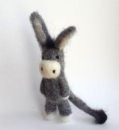 Miniature Donkey Animal Brooches Donkey brooch needlefelt by VoDi