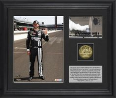 Jimmie Johnson 2012 Brickyard 400 Race Winner Framed 6x5 Photo w/ Plate & Gold Coin – L.E. of 348 by Sports Memorabilia. $49.99. This unique collectible commemorates Jimmie Johnson as the 2012 Brickyard 400 race winner at Indianapolis Motor Speedway with a 6x5 and 3 x 2 photo, descriptive plate and 10KT Gold Plated 1 1/2 inch coin, double matted and framed in black wood. Officially licensed by NASCAR. 10 karat coin comes with Certificate of Authenticity. Overa...