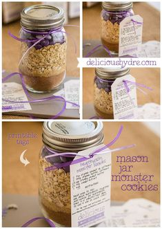 FINALLY...a healthy mason jar cookie mix...comes with recipe, instructions, and printable tags in lots of colors to choose from!! :) Perfect gifts/favors for  bridal/baby showers!