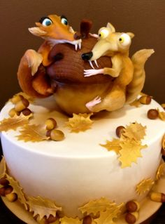 Birthday Cakes - Ice age cake. Figurines are marzipan.
