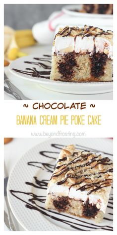 This Chocolate Banana Cream Pie Poke Cake is a moist banana cake filled with chocolate pudding and topped with sliced bananas and whipped cream. It is topped with crushed Nilla Wafers and drizzled with fudge.