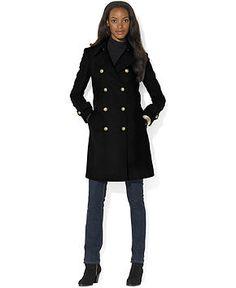 Lauren Ralph Lauren Coat, Double-Breasted Wool-Cashmere-Blend Pea Coat - Coats - Women - Macy's