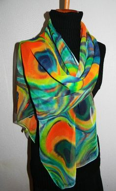 PEACOCK Hand Painted SILK Scarf by SilkMagic on Etsy, $45.00