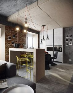 барная стойка в лофт-интерьере квартиры