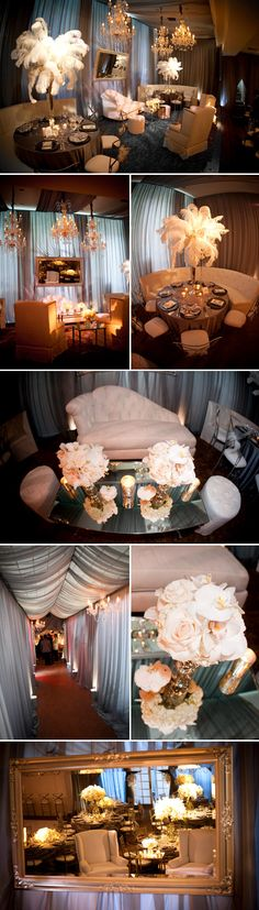 Luxurious vintage meets modern, silver and white Hotel Bel Air wedding reception designed by Kristin Banta Events, images by David Michael Photography