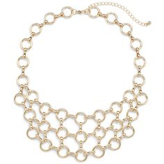 Slate Willow Accessories Gold Circle Bib Necklace ($30) ❤ liked on Polyvore featuring jewelry, necklaces, gold jewellery, gold circle necklace, yellow gold necklace, circle necklace and gold jewelry