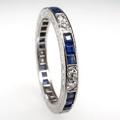 Art Deco Blue Sapphire & Diamond Wedding Band Ring Platinum Antique
