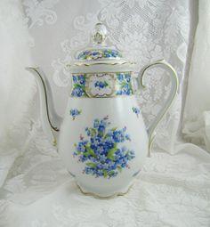 Forget Me Not Coffee Pot- Vintage Bavaria Schumann Germany- Golden Crown E $175.00, via Etsy.