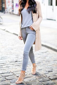 soft grey and tan! perfect early, fall style with skinny jeans, long sweater and nude Aquazzura heels.