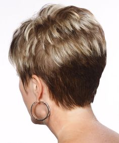 short styles back view | Formal Short Straight Hairstyle - Light Blonde Layered - 13161 ...