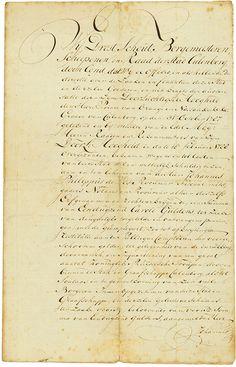 Stad Culemborg Culemborg, 21.03.1788, 3 % Obligation über 1.000 Caroli Gulden, o. Nr., 31,5 x 20,2 cm, schwarz, beige, handschriftlich auf Büttenpapier, Knickfalten mit Einrissen teils geklebt, entwertet, papiergedecktes Stadtsiegel, Transkription liegt bei. Zeichner der Anleihe war Johannes Philippus de (Clos?), Stadtrat, Notar und Finanzverwalter der Stadt Culemborg. Als Rat der Stadt unterzeichnete er die Anleihe auch. Die Stadtanleihe wurde vom Prinzen van Oranje genehmigt.