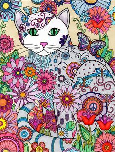 Marjorie Sarnat Cat and Flowers Adult colouring page for relaxation and fun