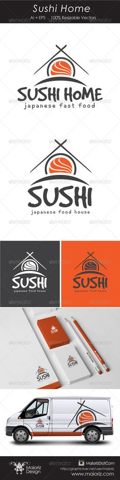Sushi Home Logotype  #GraphicRiver                                File Description  This is custom logo template. Illustrator (AI), Vector (EPS) logo files included in this download. You can customize to your own branding. All colors