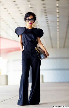 F21 pants – so so old – ( but similar here ) Dolce & Gabbana blouse – ( great option) Vintage Christian Lacroix earrings Vintage alligator clutch ( similar ) (image: ninistyle)