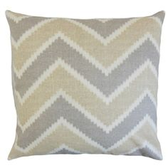 The Pillow Collection Hoku Zigzag Linen Throw Pillow Cover Color: Jute