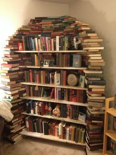 Bookshelf... MADE out of books! Big fat FAIL! This is really stupid. How can you read what is on the bottom?!