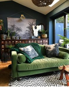 Green sofa and accents, plants and vintage library chest in this eclectic living room. Green sofa and accents, plants and vintage library chest in this eclectic living room. Eclectic Modern, Eclectic Decor, Eclectic Furniture, Eclectic Sofas, Modern Furniture, Earthy Decor, Eclectic Design, Modern Decor, Rustic Decor