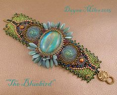 The Bluebird - Bead Embroidery Cuff Bracelet Turquoise Green and Purple