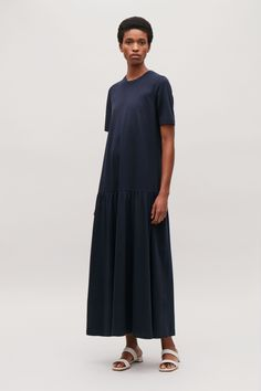 COS | Long cotton dress with frilled hem