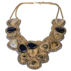 Khaki, Black and Gold Beaded Collar Necklace