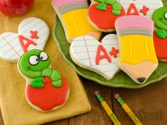 Apple Bookworm Cookies by Semi Sweet Designs