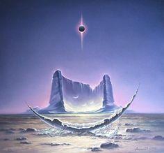 Arte Sci Fi, 70s Sci Fi Art, New Retro Wave, Arte Cyberpunk, Desert Art, Moon Painting, Alien Worlds, Science Fiction Art, Environment Concept Art