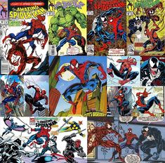 It's time for another #TBT comic book #collage! This time starring my favorite #SpiderMan artist #MarkBagley! Bagley took over the reigns of #AmazingSpiderMan when Erik Larsen left and to me he channeled the best aspects of the classic Romita #Spidey with the dynamic movement of McFarlane. He went from Amazing Spider-Man to #UltimateSpiderMan drawing a younger inexperienced Peter Parker where he got to recreate some of the most classic heroes and villains in comics history alongside writer…