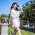[ Pré venda ] 2016 a primavera eo verão rendas Patchwork fenda decote vestido tamanho s,M L com bolso