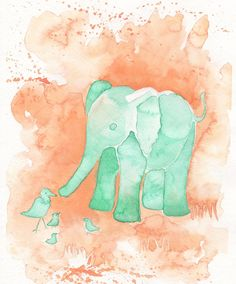 Mint and Peach 8x10 inch Original Watercolor Painting of Baby Elephant, nursery art, baby room art