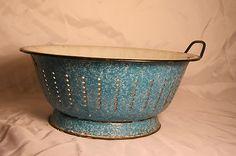 Lovely old blue colander Enamel Ware, Vintage Enamelware, Pantries, Kitchen Items, Primitives, Tins, Aqua Blue, Vintage Kitchen, Contemporary Style