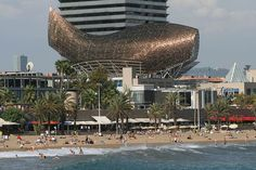 While in Barcelona, I headed down to the shore, and gazed upon the Olympic Fish, located in the Olympic Village. A monumental sculpture, with its fins spread wide, it sails along the Barcelona coastline.