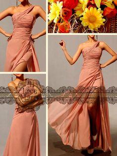 Single Shoulder Blush Pink Greek Style Long Chiffon Dress - Floor Length Chiffon Bridesmaid Dress - Greek Goddess Style Chiffon Dresses. $89.00, via Etsy.