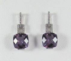 White gold drop earrings with amethysts and diamonds   KeswickJewelers