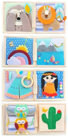 Mini quiet book of 8 developing pages, soft book in Indian style, a gift for a boy or a girl, the first safe toy, activity book - - Diy Quiet Books, Baby Quiet Book, Felt Quiet Books, Quiet Book Templates, Quiet Book Patterns, Activity Books For Toddlers, Book Activities, Baby Play, Baby Toys