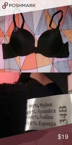 34BPush-Up Bra + Boy Shorts Solid Black bra made w/90%nylon and 10% spandex Bella Brand. Along w/ low rise boy shorts in Small by Pink Victoria Secret made from 91%cotton and 9%elastine. Both brand new, never worn, and smoke free home.  W/all my listings comes a gift from my home state of Hawai'i! PINK Victoria's Secret Intimates & Sleepwear Bras