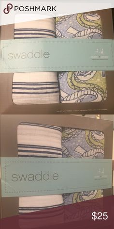 Aden & Anais Muslin Swaddle Blankets!! Brand New Aden & Anais Muslin Blankets are my go to for all my friend's bambinos. Love the modern print that could be used for a boy. There are two blankets included. They measure 47 in by 47 inches. So so soft!! aden + anais Other