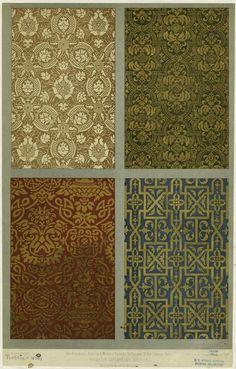 Floral textile design, 16th century. (1877)