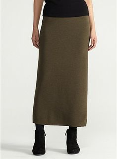 Full-Length Straight Skirt in Washable Wool Crepe