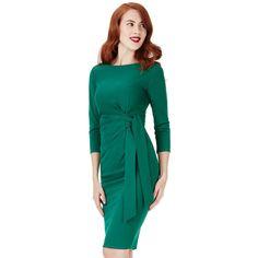Lauren by Ralph Lauren Emerald Green Dresses, Ralph Lauren, Wrap Dress, Cold Shoulder Dress, High Neck Dress, Hair, Fashion, Green Gown, Jersey Knit Dress